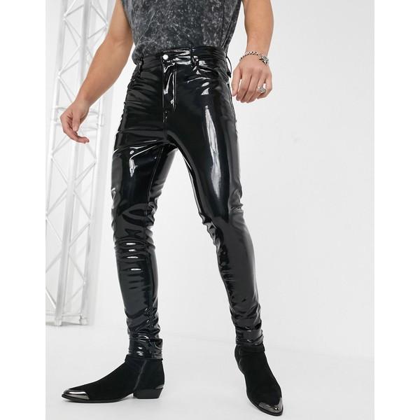 エイソス メンズ デニムパンツ ボトムス ASOS DESIGN high waisted skinny jeans in black vinyl Black