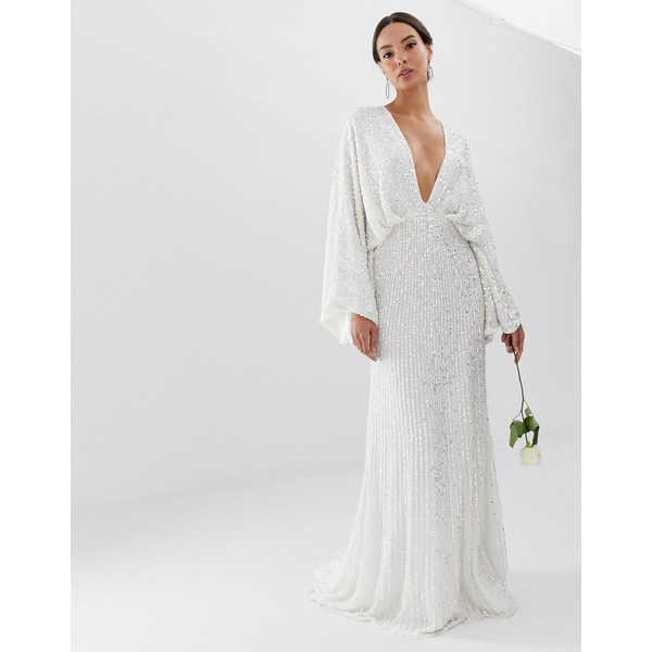 エイソス レディース ワンピース トップス ASOS EDITION sequin kimono sleeve wedding dress White
