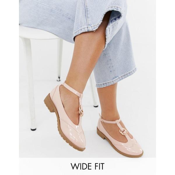 エイソス レディース スニーカー シューズ ASOS DESIGN Wide Fit Maxy double ring flat shoes Pale pink