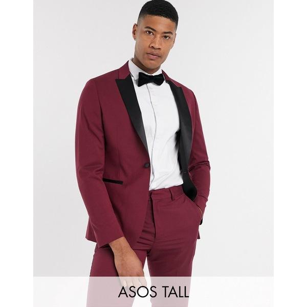 エイソス メンズ ジャケット&ブルゾン アウター ASOS DESIGN Tall skinny tuxedo suit jacket in burgundy Burgundy
