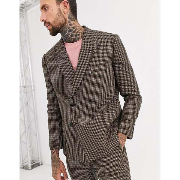 エイソス メンズ ジャケット&ブルゾン アウター ASOS DESIGN boxy double breasted suit jacket in green and pink houndstooth Green