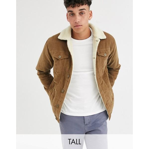 ルブレーブ メンズ ジャケット&ブルゾン アウター Le Breve Tall borg cord jacket Brown