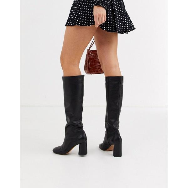 アンドアザーストーリーズ レディース ブーツ&レインブーツ シューズ & Other Stories leather round toe knee high boots in black Black
