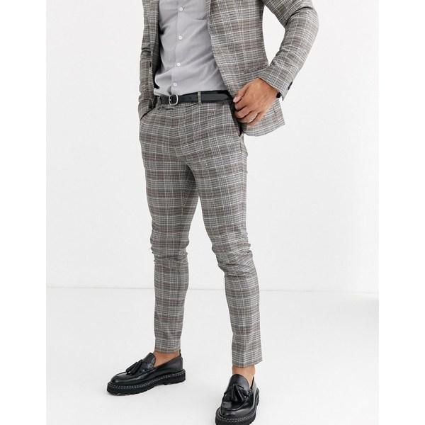 リバーアイランド メンズ カジュアルパンツ ボトムス River Island ultra skinny suit pants in brown check Brown