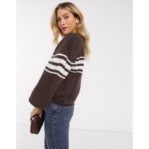 ヴィラ レディース ニット&セーター アウター Vila 3/4 sleeve sweater with stripe Puce