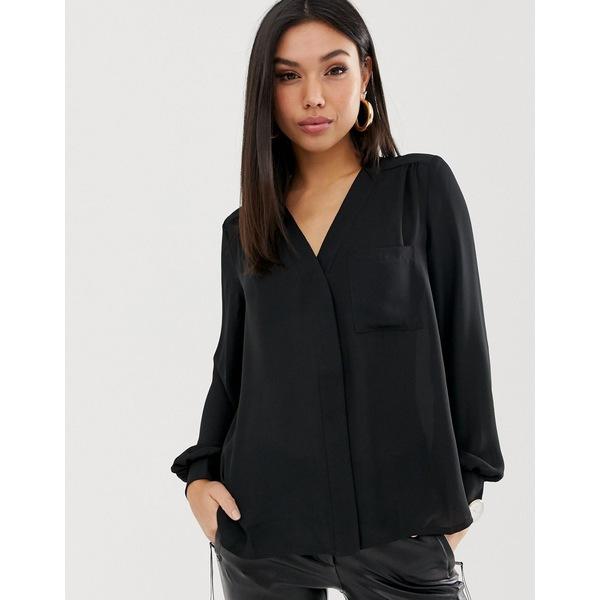 エイソス レディース シャツ トップス ASOS DESIGN long sleeve blouse with pocket detail in Black Black