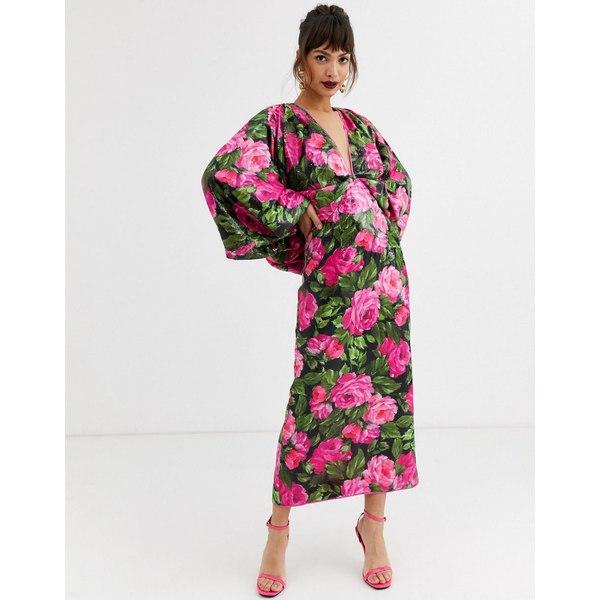 エイソス レディース ワンピース トップス ASOS EDITION kimono sleeve dress in floral sequin Multi
