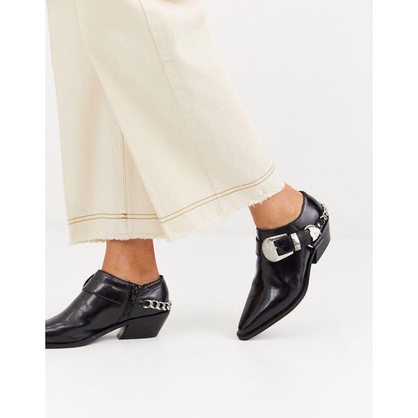 エイソス レディース スニーカー シューズ ASOS DESIGN Mirror leather western flat shoes in black Black