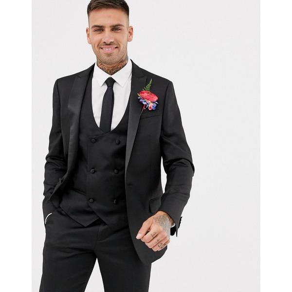 リバーアイランド メンズ ジャケット&ブルゾン アウター River Island wedding classic skinny fit tuxedo jacket in black Black