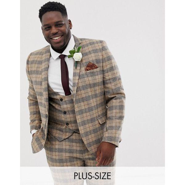 ツイステッドテイラー メンズ ジャケット&ブルゾン アウター Twisted Tailor plus skinny suit jacket with chain in heritage brown check Tan