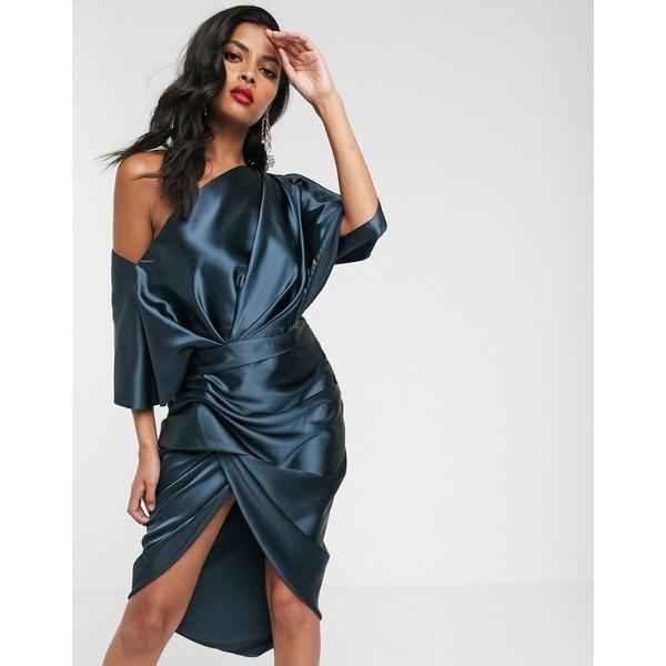 エイソス レディース ワンピース トップス ASOS EDITION drape asymmetric midi dress in satin Navy