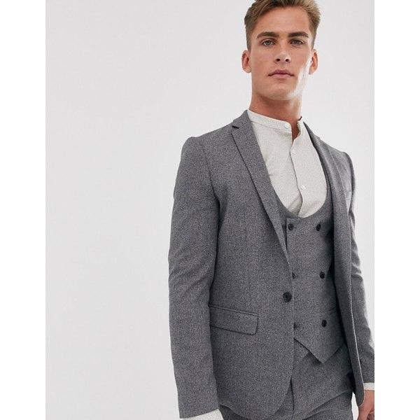 リバーアイランド メンズ ジャケット&ブルゾン アウター River Island skinny fit suit jacket in gray Charcoal