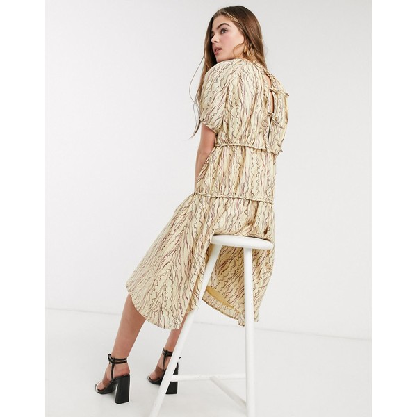 ロストインク レディース ワンピース トップス Lost Ink midi smock dress with volume tiers in abstract squiggle print Beige multi