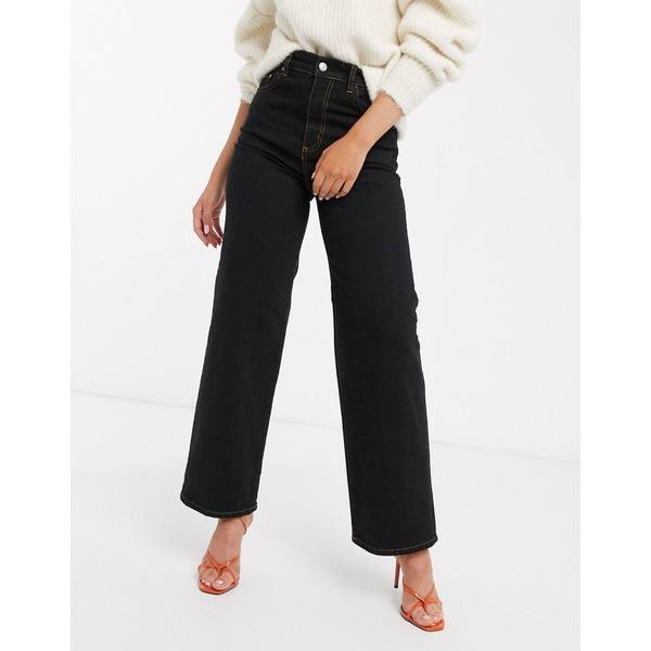 エイソス レディース デニムパンツ ボトムス ASOS DESIGN high rise wide leg jeans in black comfort stretch Black