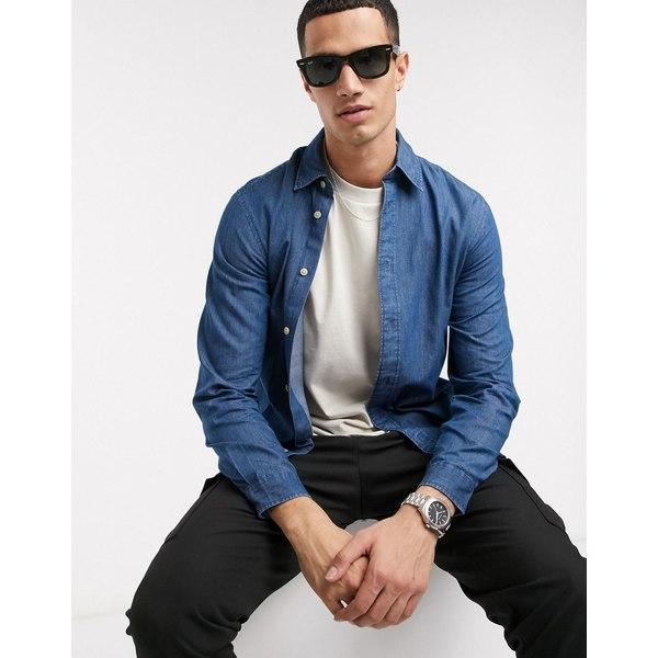 セレクテッドオム メンズ シャツ トップス Selected Homme organic cotton slim fit chambray shirt in light blue Medium blue denim