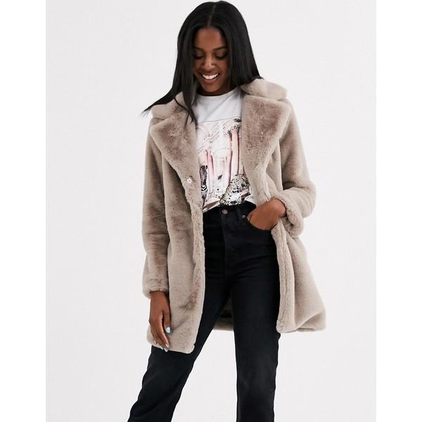 ブレーブソウル レディース コート アウター Brave Soul clare faux fur coat Mink