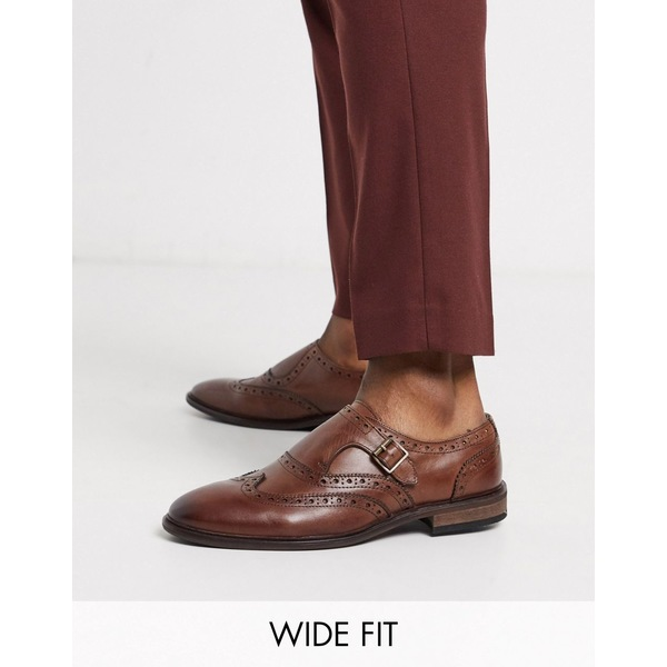 エイソス メンズ スニーカー シューズ ASOS DESIGN Wide Fit monk shoes in brown leather with brogue detail Brown