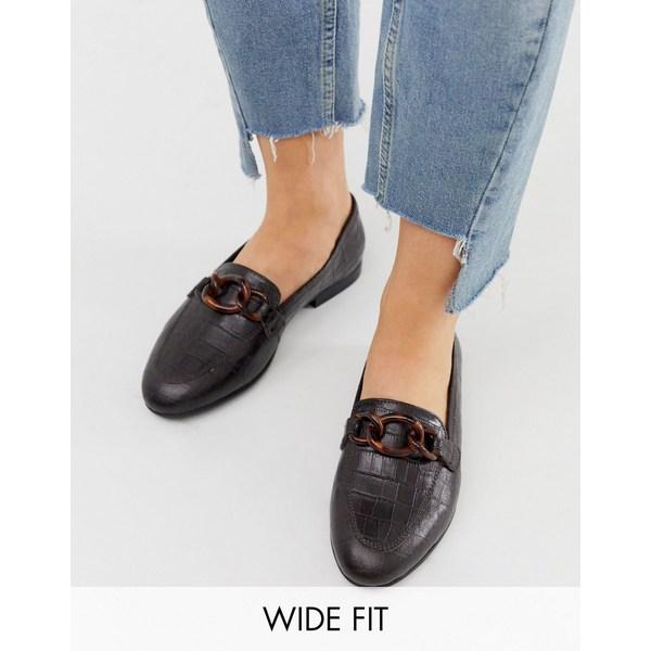 エイソス レディース サンダル シューズ ASOS DESIGN Wide Fit Verse chain detail loafer in chocolate Chocolate