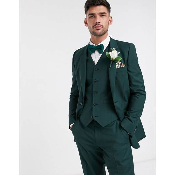 エイソス メンズ ジャケット&ブルゾン アウター ASOS DESIGN wedding slim suit jacket in forest green Forest green