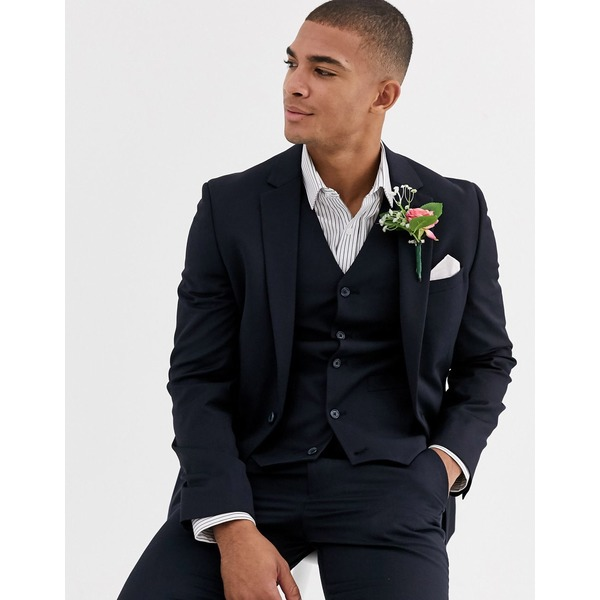 エイソス メンズ ジャケット&ブルゾン アウター ASOS DESIGN wedding skinny suit jacket in wool blend in navy Navy