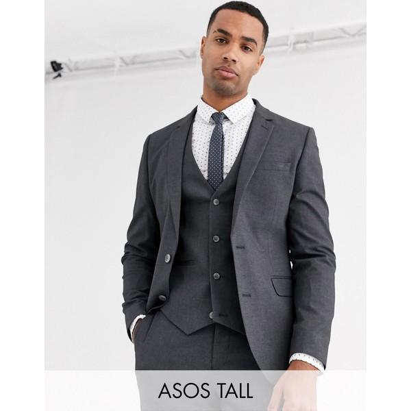 エイソス メンズ ジャケット&ブルゾン アウター ASOS DESIGN Tall skinny suit jacket in charcoal Charcoal