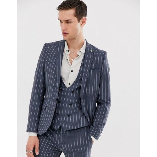 ツイステッドテイラー メンズ ジャケット&ブルゾン アウター Twisted Tailor super skinny suit jacket in blue pinstripe Blue