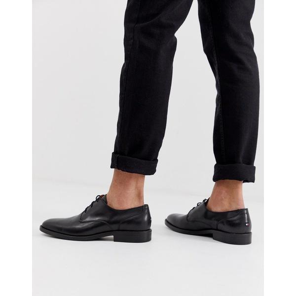 トミー ヒルフィガー メンズ スニーカー シューズ Tommy Hilfiger Essential Lace Up Leather Derby Shoes in Black Bla ck