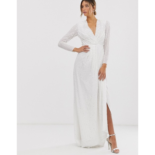 エイソス レディース ワンピース トップス ASOS EDITION pleated plunge wrap wedding dress in sequin Ivory