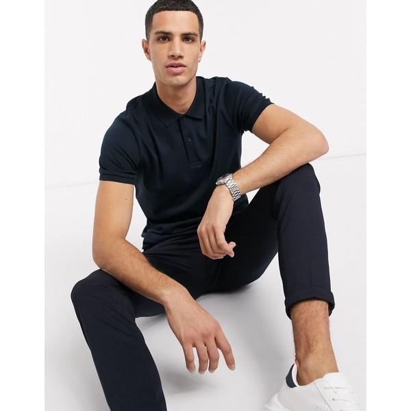セレクテッドオム メンズ ポロシャツ トップス Selected Homme organic cotton slim fit polo in navy Dark sapphire