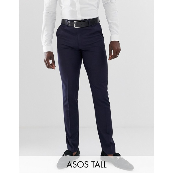 エイソス メンズ カジュアルパンツ ボトムス ASOS DESIGN Tall slim smart pants in navy NavyvNnmO80w