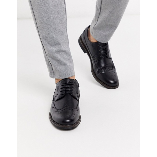 トゥラッフル メンズ スニーカー シューズ Truffle Collection brogue lace up shoe in black Black