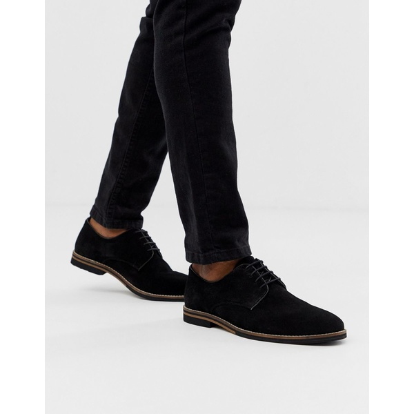エイソス メンズ スニーカー シューズ ASOS DESIGN lace up shoes in black suede with contrast sole Black