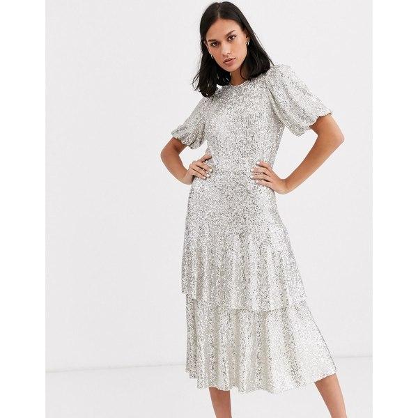 ホイッスルズ レディース ワンピース トップス Whistles arabele sequin midi dress Silver