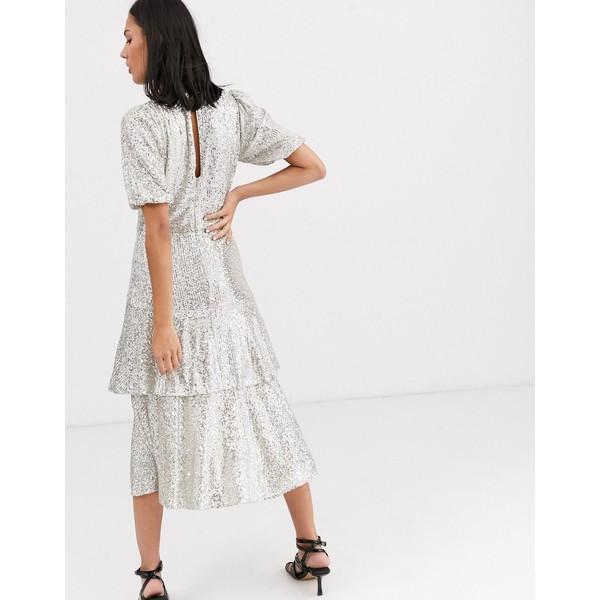 ホイッスルズ レディース ワンピース トップス Whistles arabele sequin midi dress SilverYygb76f