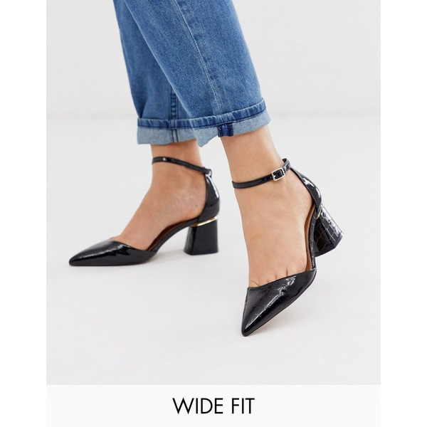 エイソス レディース ヒール シューズ ASOS DESIGN Wide Fit Stardust pointed mid-heels in black croc Black croc