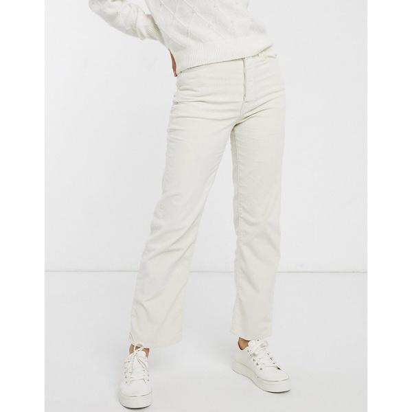 リーバイス レディース デニムパンツ ボトムス Levi's Ribcage straight leg ankle grazer jeans in white Ecru wide wale
