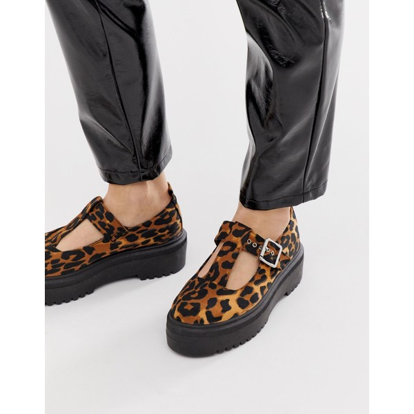 エイソス レディース スニーカー シューズ ASOS DESIGN Motivator Chunky flat shoes in leopard Leopard