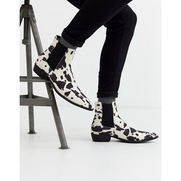 エイソス メンズ ブーツ&レインブーツ シューズ ASOS DESIGN stacked heel western chelsea boots in faux suede cow print Black