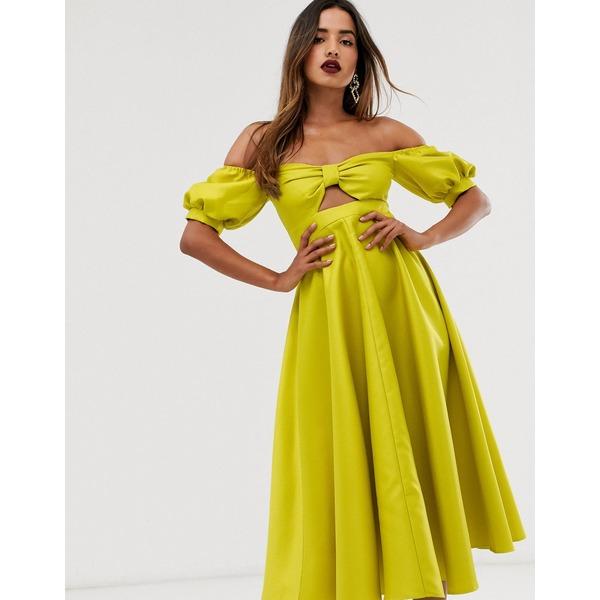 エイソス レディース ワンピース トップス ASOS EDITION midi dress with puff sleeve and cut out Chartreuse