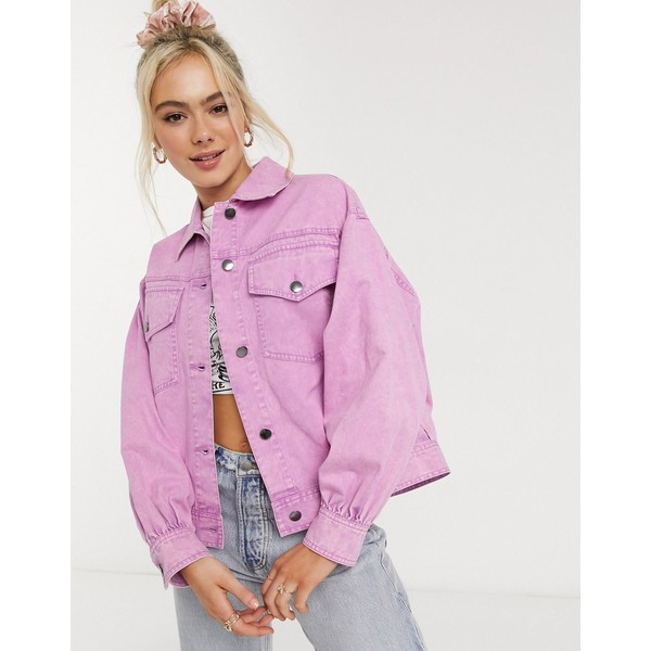 エイソス レディース コート アウター ASOS DESIGN oversized acid washed jacket in pink Pink