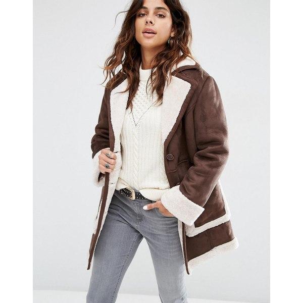 エイソス レディース コート アウター ASOS Vintage Style Faux Shearling Coat Brown