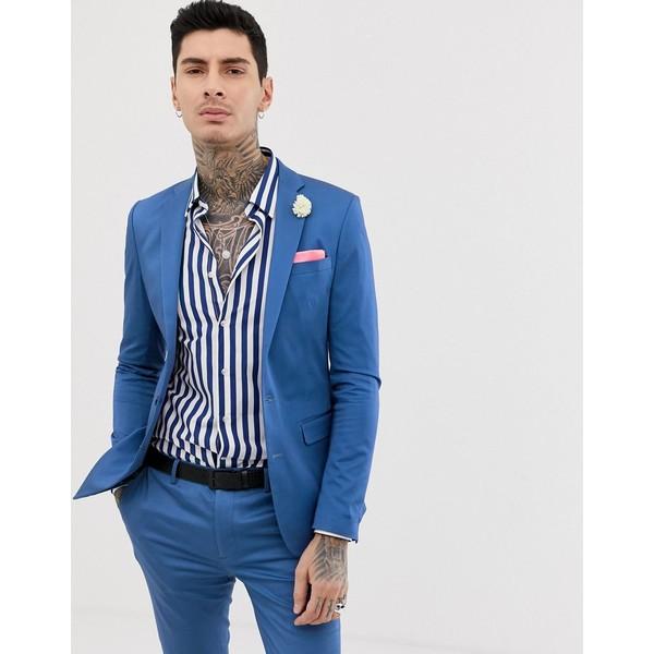 デヴィルズアドボケート メンズ ジャケット&ブルゾン アウター Devils Advocate super skinny plain cotton sateen stretch suit jacket Petrol blue