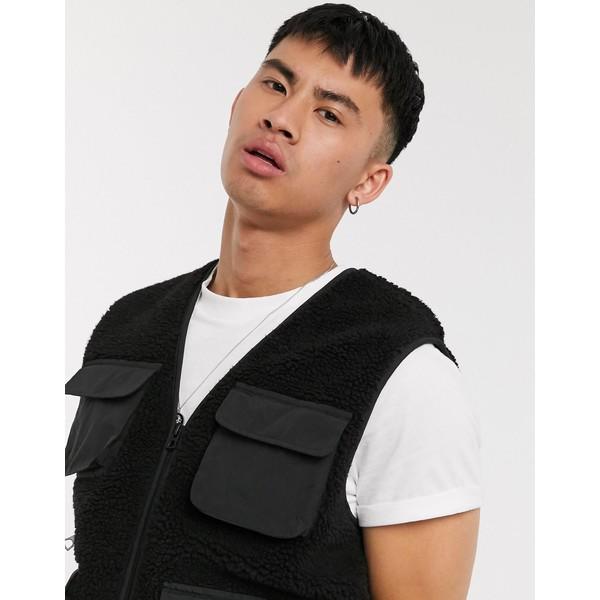 ブレーブソウル メンズ ジャケット&ブルゾン アウター Brave Soul utility borg suit vest jacket back Black