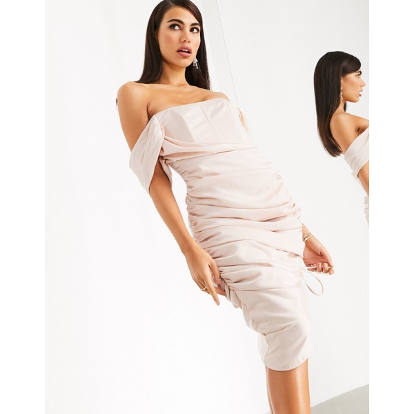 エイソス レディース ワンピース トップス ASOS EDITION ruched satin midi dress with corset bodice Blush