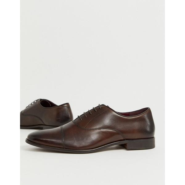 ウォークロンドン メンズ スニーカー シューズ Walk London alfie toe cap oxford shoes in brown leather Brown