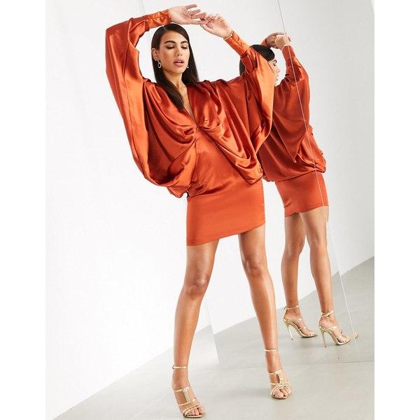 エイソス レディース ワンピース トップス ASOS EDITION extreme kimono sleeve mini dress Rust