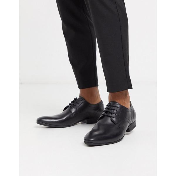モスブロス メンズ スニーカー シューズ Moss London leather lace up shoe in black Black