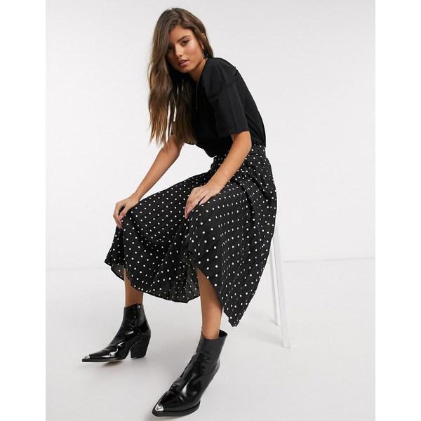 ストラディバリウス レディース スカート ボトムス Stradivarius pleated midi skirt in black with white dots Black