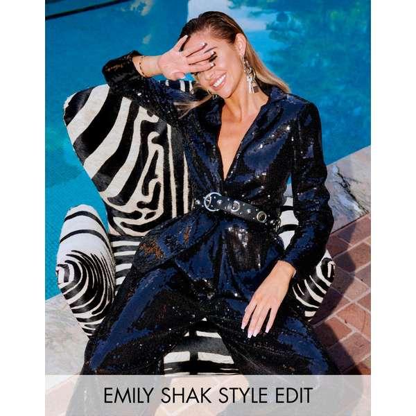 エイソス レディース ジャケット&ブルゾン アウター ASOS EDITION slim blazer in sequin Black