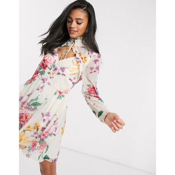 キープセイク レディース ワンピース トップス Keepsake About Us floral mini dress in creme botanic floral Creme botanic floral